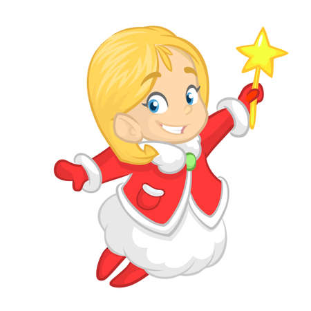 Cute cartoon Christmas angel character flying and holding star. Vector illustration of happy winter blond fairy outlined Illustration