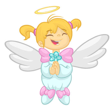 Cute happy Christmas angel character. Vector illustration isolated