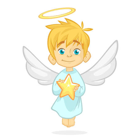 Cute cartoon angel holding a star. Christmas cartoon. Vector illustration isolated.