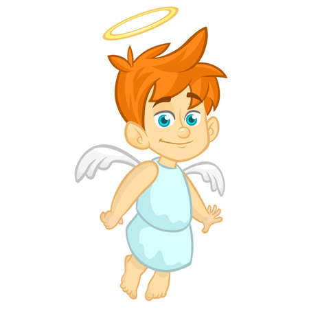 Vector cartoon illustration of Christmas angel with nimbus and wings