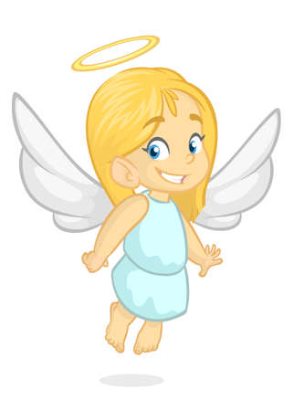 Cartoon Cute happy Christmas angel character. Vector illustration isolated.