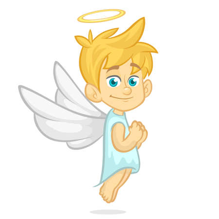 Vector cartoon illustration of Christmas angel with nimbus and wings prays
