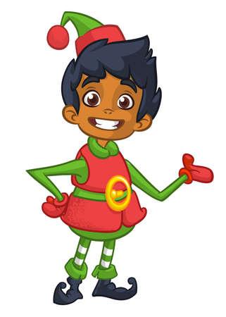 Vector illustration of Christmas afro-american or arab boy elf cartoon. Cute Happy Dwarf Santa Helper Presenting
