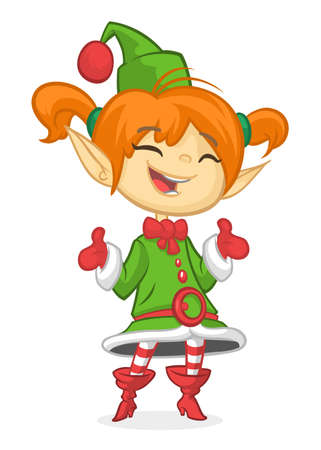 Happy Cartoon Smiling Blonde Girl Christmas Santas Elf. Vector illustration isolated on white