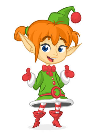 Happy Cartoon lachende blonde meisje Christmas Santa's Elf. Vectorillustratie geïsoleerd op wit