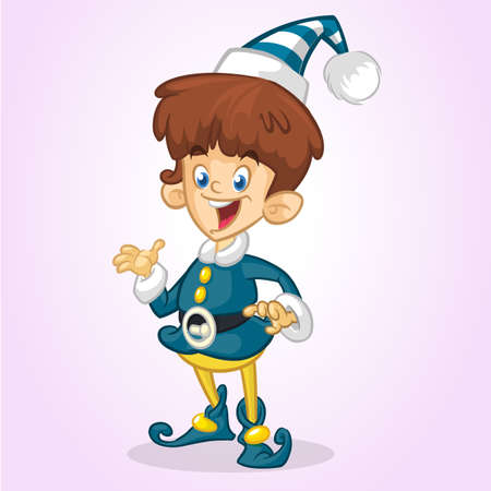 Christmas Elf Cartoon Character Santa Helper  Vector Illustration Isolated