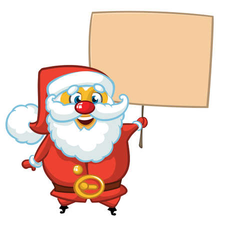 Christmas cartoon illustration of funny Santa Claus character holding a sign wooden board. Vector isolated