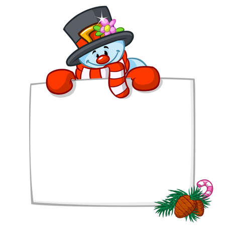 Little cute smiling snowman with scarf and woolen cap. Holding blank scroll for text invitation. Christmas or New year vector illustration.