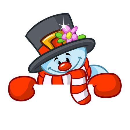 작은 귀여운 웃는 눈사람 스카프와 텍스트 복사를위한 빈 스크롤을 들고 모직 모자. 스톡 콘텐츠 - 90862972