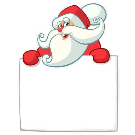 Christmas cartoon illustration of funny Santa Claus character holding blank scroll or sign for greeting text. Vector isolated