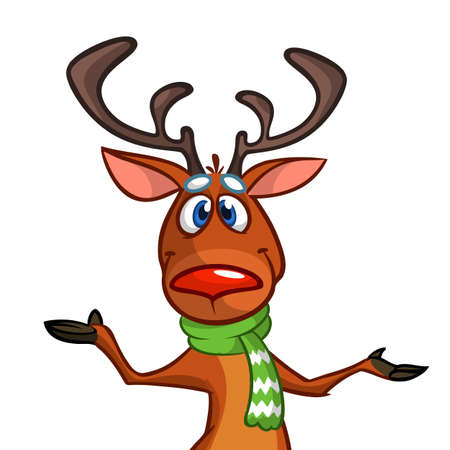 Happy cartoon Christmas Reindeer pointing hand. Vector illustration of Christmas character Ilustração
