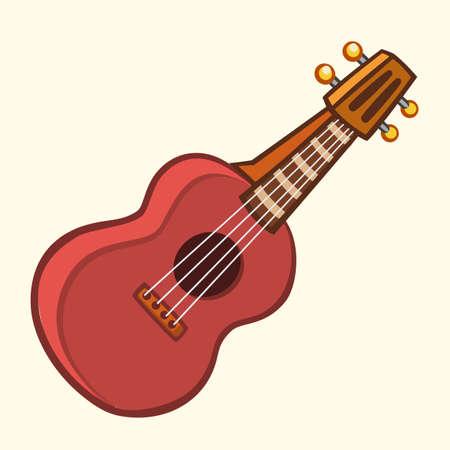 Cartoon vector illustration of acoustic guitar or ukulele. Cartoon clip art musical instrument icon.