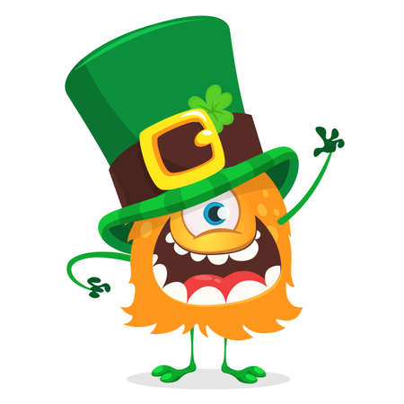 St. Patricks day cartoon one eyed monster wearing Irish hat with a four leaf clover isolated on white background vector illustration. Illustration