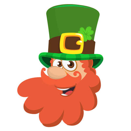 Colorful vector illustration of leprechauns head in top hat, isolated on white background. File doesnt contains gradients, blends, transparency and strokes or other special visual effects. Illustration