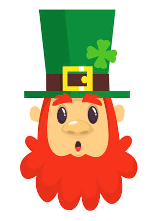 Cartoon Leprechaun surprised with red beard as a portrait for St. Patricks Day celebration in Ireland. Illustration