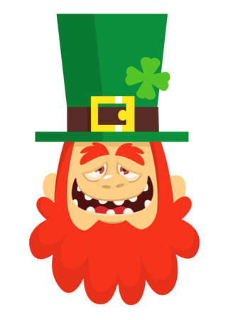 Funny Cartoon Leprechaun face with red beard as a portrait for St. Patricks Day celebration in Ireland.