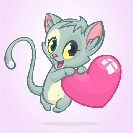 Cartoon funny kitty holding a love heart illustration of a cat in love for St Valentines Day.