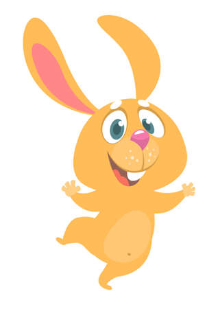 Cartoon bunny rabbit dancing excited. Easter character vector illustration of forest animal.