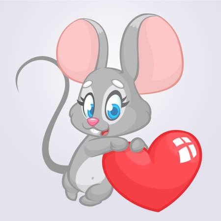 Cartoon cute mouse holding a love heart vector illustration for St Valentines day. Ilustracja