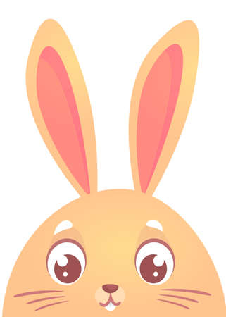 Cute cartoon rabbit. Farm animals. Vector illustration of a Easter holiday bunny face. Easter design