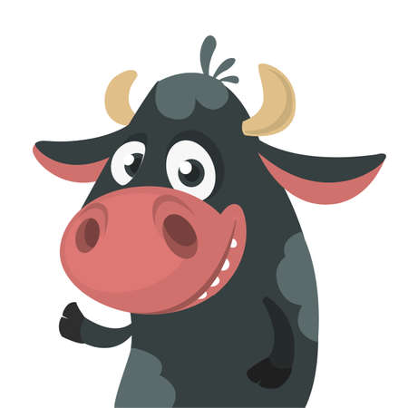 Cartoon cute black cow standing and presenting. Vector illustration of a cow character isolated on white. Great for print, banner or children book Illustration
