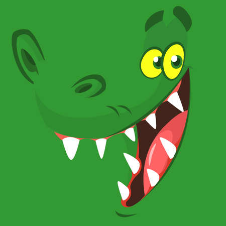 Visage de crocodile drôle de bande dessinée. Illustration vectorielle. Conception pour impression, mascotte ou illustration de livre pour enfants