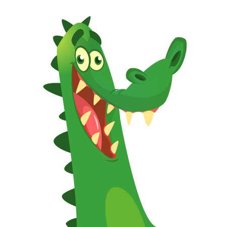Crocodile de dessin animé. Icône de caractère de vecteur isolé sur blanc