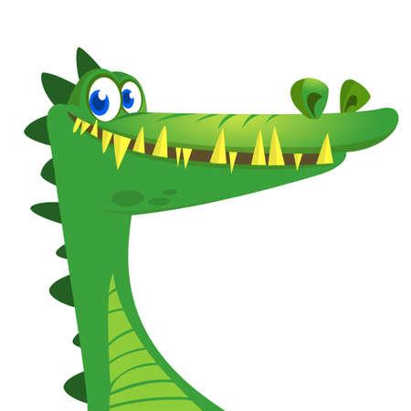 Cartoon crocodile. Vector character icon isolated on white