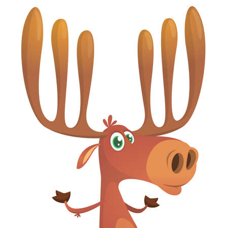 Funny cartoon moose. Vector moose character illustration  Stock Illustratie