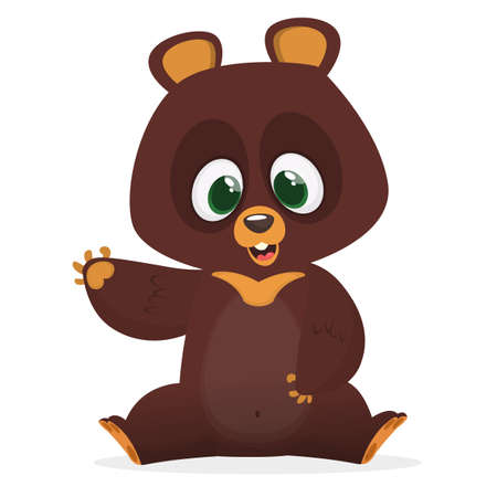Cartoon funny bear character with big eyes waving hand. Vector illustration