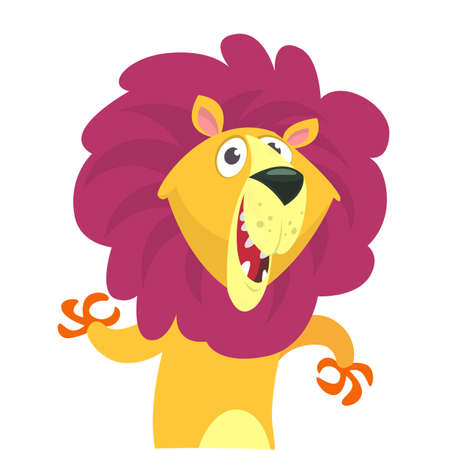 Happy funny cartoon lion. Vector character illustration for children book.