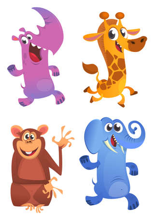 Cartoon animals set. Vector set of animal icons isolated on white. Vector illustration of rhino, giraffe, monkey chimpanzee and elephant