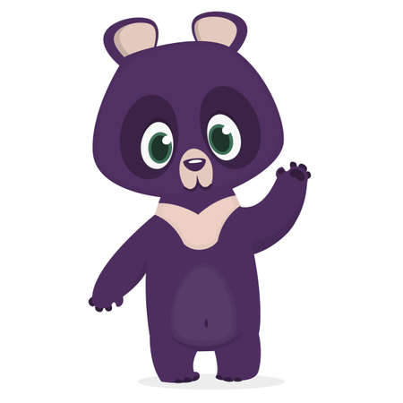 Funny cartoon Himalayan bear waving hand. Vector illustration of a bear character Ilustração