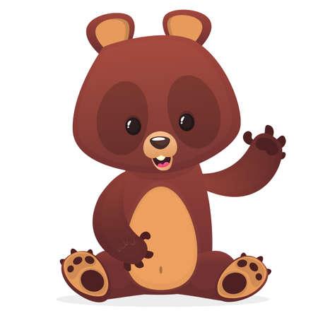 Cartoon cute teddy bear with eyes buttons waving hand. Vector illustration