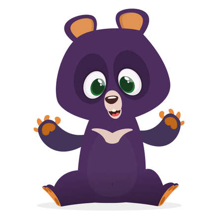 Funny Himalayan bear cartoon. Vector illustration for children book