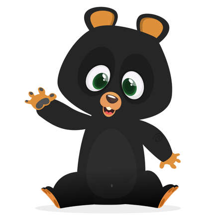 Cartoon happy Himalayan black bear. Big collection of cartoon forest animals. Vector illustration