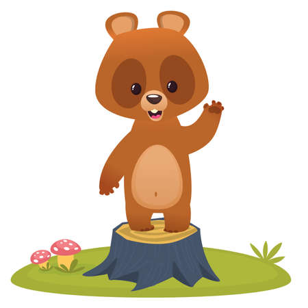 Cartoon happy smiling bear waving hand standing on a tree stump. Vector illustration isolated Illustration