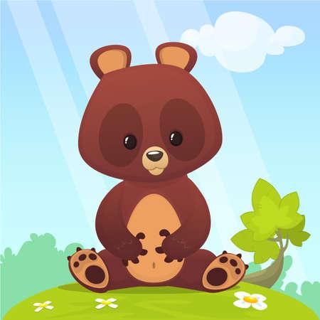 Cartoon small baby bear sitting in the green summer meadow Vector illustration Stock Illustratie