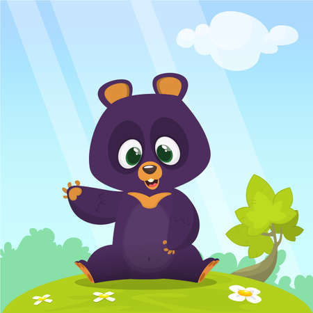 Cartoon happy Himalayan bear sitting in the green meadow. Summer season. Vector illustration. Colorful design for children book illustration