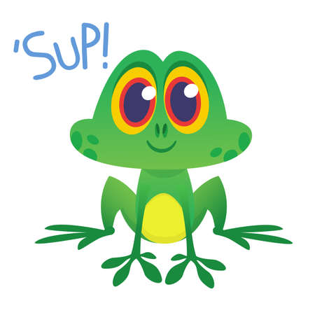 Funny Frog Cartoon Character saying Sup. Vector illustration Illustration