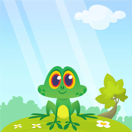 Frog Cartoon Character sitting on the ground isolated on forest  background. Colorful vector illustration. Design for children book illustration
