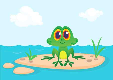 Frog Cartoon Character sitting on the ground in the middle of river or pond or lake background. Colorful vector illustration. Design for children book illustration