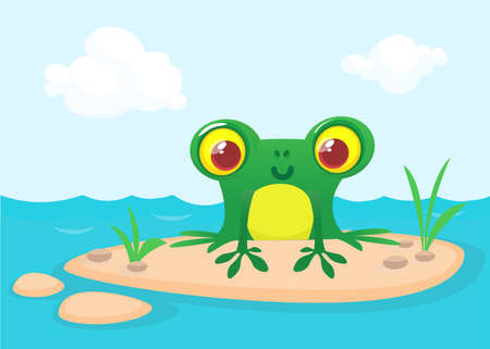 The frog sits on a large rock. Cute vector illustration of a cartoon style. Çizim