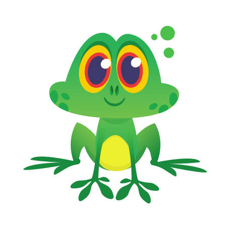 Cartoon green froggy frog mascot character in cartoon style. Vector illustration isolated on white. Design for print or children book illustration Illustration