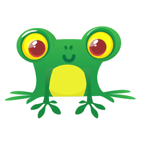 A frog is sitting on a white background. Isolated illustration frog in a cartoon style.