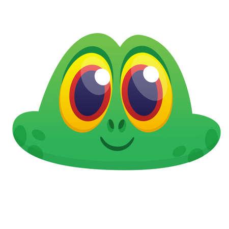 Funny Frog Cartoon head icon. Vector illustration