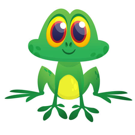 Funny green frog  character in cartoon style. Vector illustration. Design for print, children book illustration or party decoration Illustration