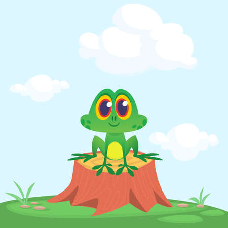 Funny Frog Cartoon Character sitting on tree stump on the meadow background. Colorful vector illustration