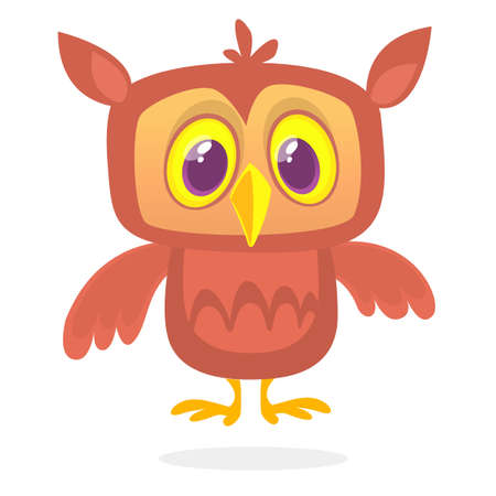 Funny cartoon owl with big eyes. Vector illustration. Design for print,cartboard,  children book illustration or party decoration Illustration