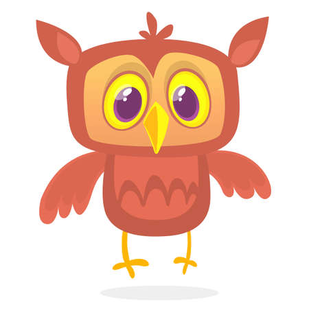 Happy cartoon owl. Vector character isolated Illustration